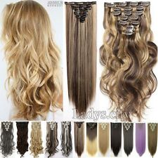 "Real Thick,24-26"",Full Head Clip In Hair Extensions,Brown Gray Blonde Ponytail"