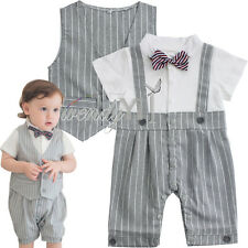 Baby Boy Formal Wedding Gentleman Tuxedo Romper+Vest Outfit Toddler Clothes Set