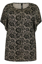 Yoursclothing Plus Size Womens Floral Lace Batwing Style Jersey Top