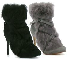 Womens Black Grey Fur Winter High Heel Lace Riding Bowknot Ankle Boots Shoes