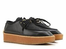 Stella McCartney womens wedges lace-ups black vegan shoes