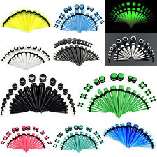 16pcs/28pcs/36pcs Acrylic Ear Gauges Stretching Kit Taper & Plugs O-ring 14G-00G