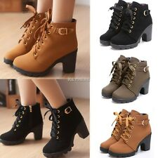Womens High Heel Lace Up Ankle Boots Ladies Zipper Buckle Platform Shoes YA410
