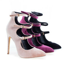 Pixie7 Velvet Pointy Toe Multi Buckle Stiletto Heel Dress Pumps