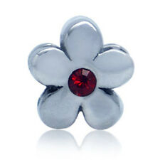 Red Siam Crystal 925 Sterling Silver FLOWER Threaded European Charm Bead