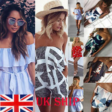 UK Fashion Women Bodycon Floral  Striped Jumpsuit Bandeau Playsuit Shorts Romper