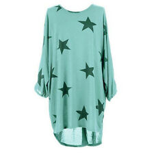 Womens Star Print Batwing Blouse Tops Calsual Loose Fit T-Shirt For Summer