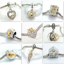 Hot 1pcs Silver European Charm plated gold Beads Fit 925 Necklace Bracelet Chain