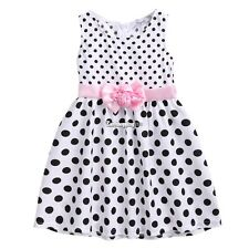 Cute Kids Girls Fashion Dress Dot Print Flower Sleeveless Casual Sundress ES9P