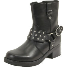 Harley Davidson Women's McAbee Black Studded Riding Boots Shoes D83925