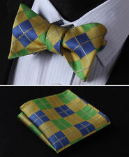 BC4008Y Green Yellow Check Men Woven Silk Self Bow Tie Pocket Square Set