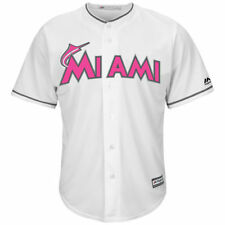 Miami Marlins Majestic Mens Cool Base Mothers Day Team Jersey Baseball - White