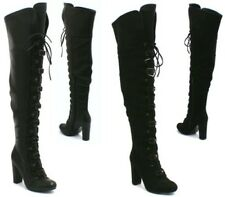 LADIES THIGH HIGH OVER THE KNEE PLATFORM LACE UP BOOTS WOMENS STILETTO HEEL SIZE