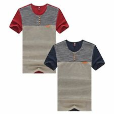 Summer Patchwork Mens Tops Short Sleeve Casual T-shirts Slim Fitness Street Tee