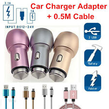 2 Port USB Car Charger Adapter Safety Hammer+Cable For Samsung Android Phone Lot
