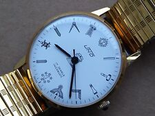 Gents masonic Uno watch, good condition, keeping time, all working well, 17j.