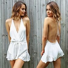 White Backless Women Sexy Clubwear Summer Playsuit Bodycon Party Jumpsuit Romper