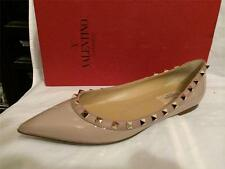 Valentino Nude Patent Leather Rockstud Studded Ballet Ballerina Flats Shoes $745