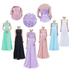 Women Ladies Embroidered Slim Chiffon Bridesmaid Dress Long Evening Prom Gown