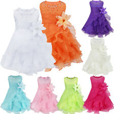 Infant Baby Girls Sleeveless Organza Tutu Princess Birthday Party Baptism Dress
