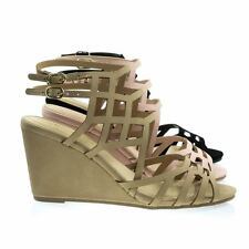 Behave Honeycomb Cage Sandal w Wedge & Double Ankle Strap, Gladiator Cutouts