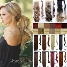 HOT Ponytail Wrap Around Clip in Long Straight Wavy Hair Extensions Ponytail Lnk