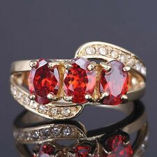 Jewelry Size 6-9 Red Garnet Women's 10KT Gold Filled Fashion Cut Banquet Ring