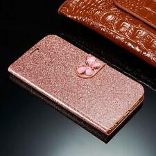Luxury Bling Leather Magnetic Flip Wallet Card Cover Case For iPhone Samsung H