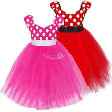 Girls Baby Toddler Minnie Polka Dot Cosplay Costume Fancy Dress Up Tulle Skirt