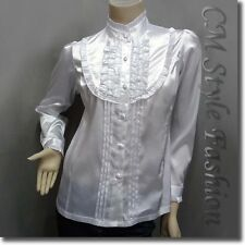 Victorian Style Ruffled Satin Elegant Blouse Shirt Top White S/L/XL