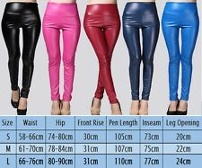 Ladies Faux Leather High Waist Leggings Pants Wet Look Skinny Stretch Pants US