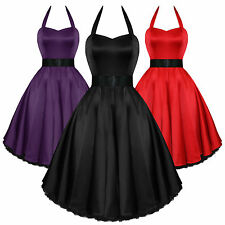 Hearts And Roses London Satin 50s Rockabilly Pinup Party Prom Swing Prom Dress U