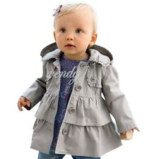 Baby Girls Toddlers Wind Hooded Jacket Trench Coat Winter Outwear Ruffle Clothes