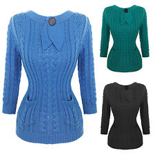 Womens Ladies Sexy Vintage Retro 1940s 1950s Cable Knit Jumper Top UK