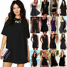 BLACK Dress Sexy Womens Party Cocktail Clubwear Mini Dresses Summer Sundress NEW