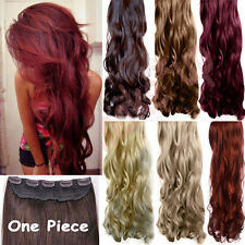 One Piece Clip in Hair Extensions Full Head Curly Straight Real Human New Nz7