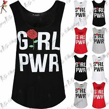 Womens Ladies Sleeveless Girl Power Gymming Edging Jersey Curved Hem Vest Top