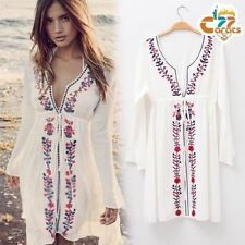 Vintage 70s Mexican Boho Wedding Floral Embroidered Festival Mini party Dress