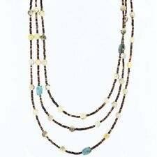 $330Tag 3 Strand Silver Navajo Turquoise Agate Native American Necklace