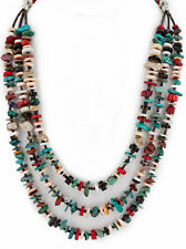 $350Tag 3 Strand Silver Navajo Natural Turquoise Multicolor Native Necklace