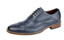 Mens Leather Lined Smart Lace Up Oxford Brogues Shoes Blue Size 6 7 8 9 10 11 12