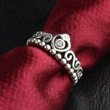 Fashion Retro Silver Crystal Rhinestone Crown Ring Wedding Bridal Women Jewelry