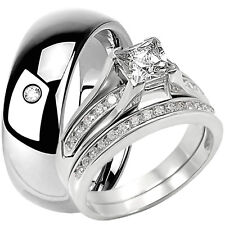 His Hers Sterling Silver Engagement Princess Cut Wedding Ring Set Tungsten Band