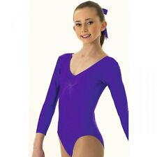 Ladies 1st Positon Purple Ruched Front Long Sleeved Leotard - Ballet Dance