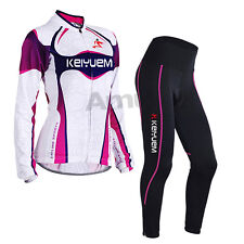 Women Cycling Bicycle Bike Clothing Long Sleeve Jersey Pants Trousers Set Paded
