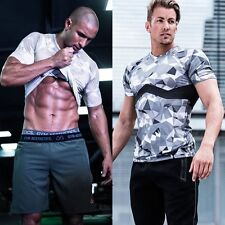 Mens Military Camo Gym Sports Tops Running Jogging Athletic Army Combat T Shirt