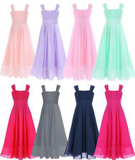 Girls Kids Chiffon Long Dress Princess Pageant Wedding Bridesmaid Birthday Party