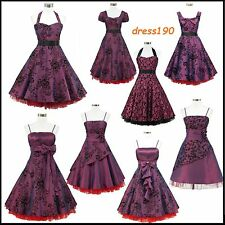 dress190 Purple 50s Rockabilly Cocktail Pinup Evening Party Prom Ball Dress 8-26