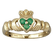 14KT Yellow Gold Genuine Irish Emerald Claddagh Ring.Made in Ireland s2466