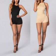 Women Sexy Halter Neck Backless Rompers Empire Waist Jumpsuits Playsuit Shorts